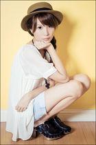 white from korea top - black Zara shoes - beige boater hat - blue Mango shorts