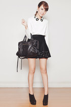 black balenciaga bag - black Chicwish skirt - white Chicwish top