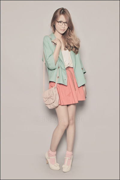 ivory Asian Vogue shoes - aquamarine Migliore Korea blazer - light pink Zara bag