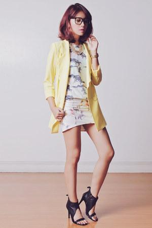 light yellow Tricia Gosingtian for Romwe blazer - off white PERSUNMALL skirt