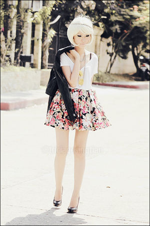 red floral httppoisonberrymanilamultiplycom skirt - black Aldo shoes