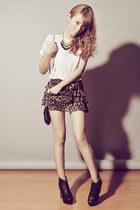 Zara shirt - Asian Vogue boots - Topshop bag - leopard-print Forever 21 shorts