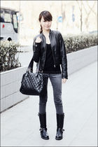 black Mango top - black Zara jacket - black Topshop - black from japan boots - g
