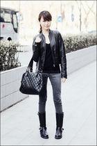 black Mango top - black Zara jacket - black Topshop - black from japan boots - g