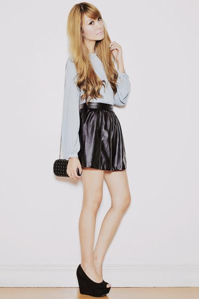 black Yesstyle skirt - black frou frou bag - light blue EMODA blouse