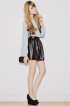 black Yesstyle skirt - black frou frou bag - light blue EMODA blouse