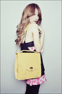 Black-ntice-top-pink-glitterati-skirt-mustard-gold-dot-bag-pink-cherry-pop