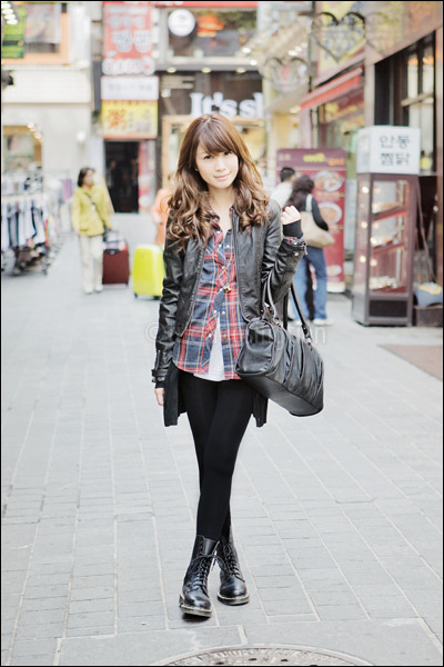 white Gap top - red plaid Topshop top - black doc martens boots