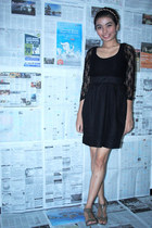 black Zara dress - silver Charles & Keith heels