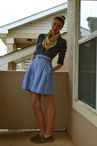 sky blue Zara skirt - light brown sperry shoes