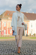 white Zara coat - Zara pants - peach Pour La Victoire pumps