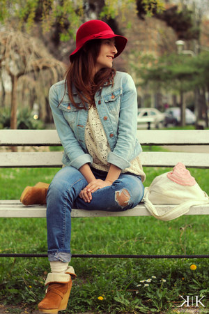 brown Bershka boots - blue Zara jeans - cream H&M blouse