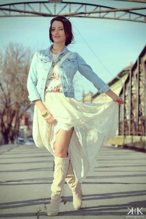 sky blue random brand jacket - cream custom made boots - cream custom made skirt