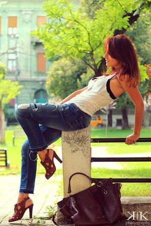 Zara jeans - Motivi top - Manolo Blahnik sandals