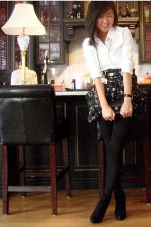 Club Monaco shirt - Club Monaco skirt - Louis Vuitton belt - Steve Madden boots