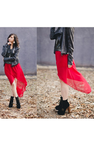 red skirt - black Steve Madden boots - charcoal gray MIKKAT MARKET jacket