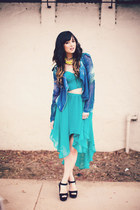 blue Sheinside jacket - turquoise blue No Rest for Bridget skirt