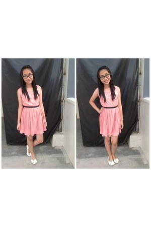 pink dress - white ribbon flats