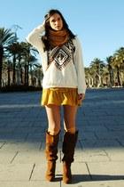 pull&bear jumper - Zara boots - Forever 21 scarf - Stradivarius socks
