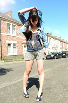 Jane Norman jacket - Topshop top - Topshop shorts - Urban Outfitters necklace