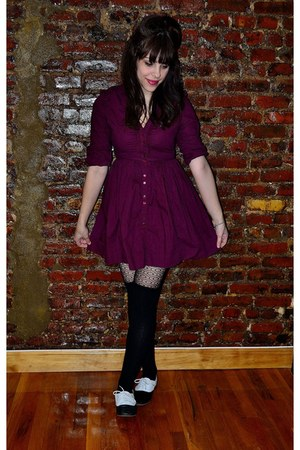black Kimchi Blue shoes - crimson asos dress - black tights - black socks
