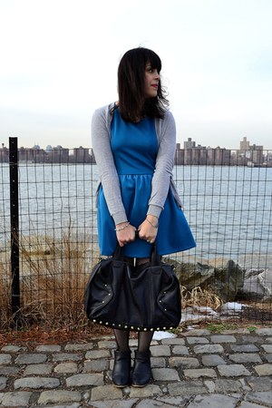 black Urban Outfitters boots - blue H&M dress - black tights
