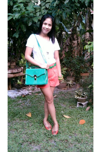 turquoise blue square satchel bag - carrot orange candy soft shorts