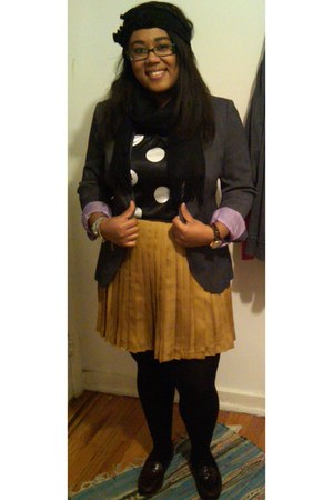 gray Zara blazer - black H&M tights - gold pleated Gap skirt - black polka dots