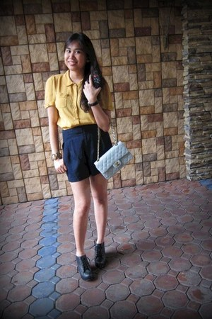 Chanel bag - high-waisted Forever 21 shorts - 99 tie Jeffrey Campbell wedges