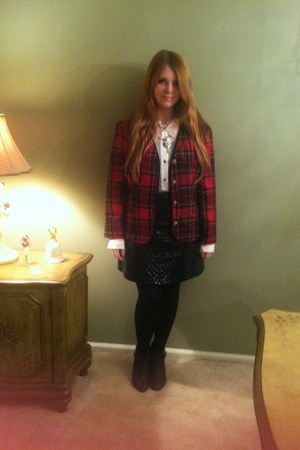 plaid tweed vintage blazer - leather rag & bone boots