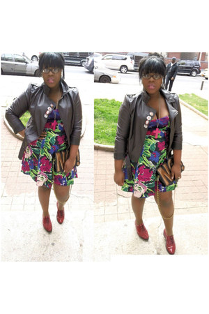 Neon Floral dress - American Apparel shoes - motorcycle asos jacket