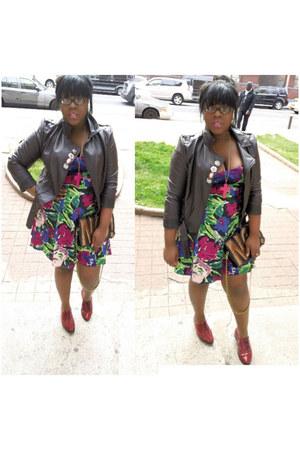 Neon Floral dress - American Apparel shoes - motorcycle asos jacket
