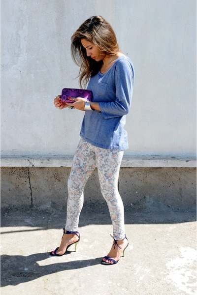 bubble gum polish brand leggings - blue H&M top - purple stephane kelian sandals