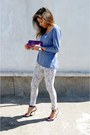Bubble-gum-polish-brand-leggings-blue-h-m-top-purple-stephane-kelian-sandals