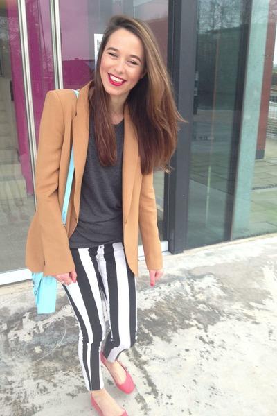 Topshop jeans - bronze Zara blazer - sky blue H&M bag - red H&M flats