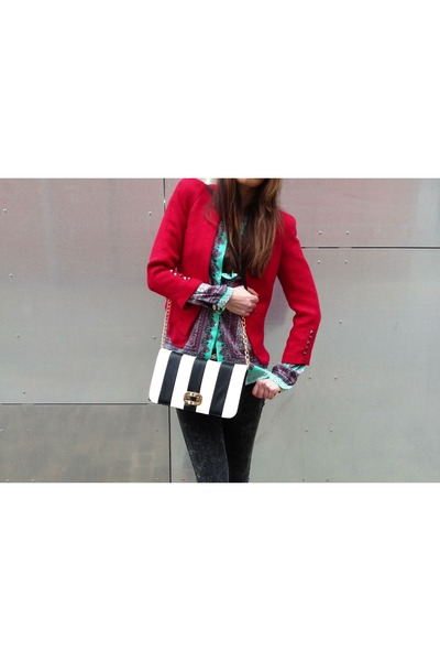 red Mango blazer - Accessorize bag - aquamarine Zara blouse