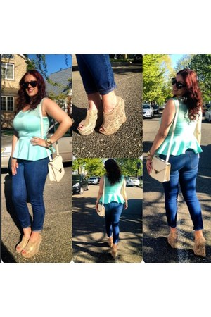 neutral SteveMadden wedges - navy denim jeans - aquamarine peplum shirt