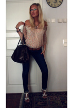 H&M jeans - Global purse - Din Sko shoes - GINA TRICOT blouse