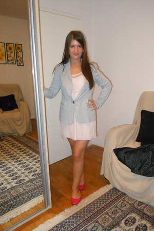 periwinkle Zara jacket - light pink lace Zara dress - flats