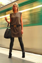 green Ikks dress - black NafNaf leggings - ANDRE shoes