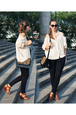 white Romwecom  DIY shirt - black Zara bag - brown Zara wedges
