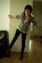 H&M shirt - H&M blouse - American Apparel jeans - Vintagestore shoes