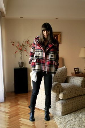 black BDG jeans - red American Eagle coat