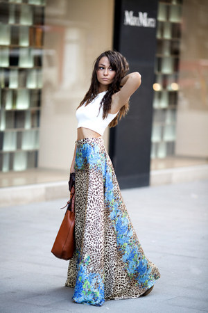 light brown no name skirt - burnt orange leather shopper Zara bag