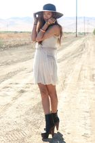 white Charlotte Russe dress - black Platform Clog Boots boots