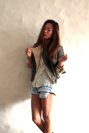 green Forever 21 jacket - white christian dior shirt - blue Levis shorts