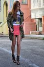 Green-f21-jacket-white-hell-bellz-t-shirt-pink-h-m-skirt-brown-zigi-shoes