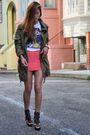 Green-f21-jacket-white-hell-bellz-t-shirt-pink-h-m-skirt-brown-zigi-shoes