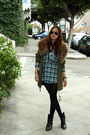 Green-f21-jacket-blue-h-m-shirt-black-boots