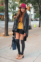 dark gray Fendi cardigan - mustard Forever 21 top - tan Chloe shoes